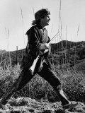 Actor Fess Parker, Wearing Davy Crockett Outfit Fototryk i høj kvalitet af Allan Grant