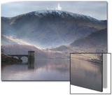 Reflective Water Landscape in Front of Snowcapped Mountain Plakat av Tommy Martin