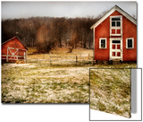 Red Farmhouse and Barn in Snowy Field Prints by Robert Cattan