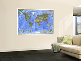 1975 Physical World Map Wall Mural by  National Geographic Maps