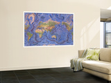 1981 World Ocean Floor Map Wall Mural