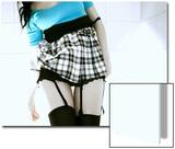 Woman in Garter Belts and Plaid Skirt Prints by Paula Iannuzzi