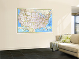 1982 United States Wall Mural by  National Geographic Maps