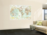 1957 World Map Wall Mural