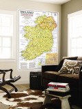 1981 Ireland and Northern Ireland Visitors Guide Map Wall Mural by  National Geographic Maps