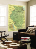 1931 Illinois Map Wall Mural by  National Geographic Maps