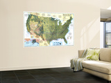 1996 United States, the Physical Landscape Map Wall Mural by  National Geographic Maps