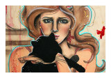 The Girl and the Kitty I Print by Vicky Filiault