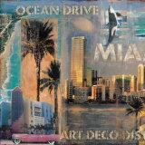 Ocean Drive, Miami I Kunstdrucke von John Clarke