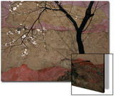 Plum Tree against a Colorful Temple Wall Plakater av Raymond Gehman