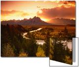 Teton Range at Sunset, Grand Teton National Park, Wyoming, USA Plakat av Adam Jones