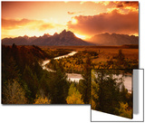 Teton Range at Sunset, Grand Teton National Park, Wyoming, USA Posters by Adam Jones