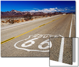 Route 66 Sign on Highway Near Amboy, Mojave Desert, California Print by Witold Skrypczak