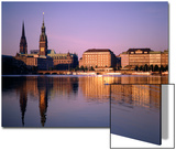 City Skyline and Binnenalster Lake, Hamburg, Schleswig-Holstein, Germany Posters by Steve Vidler
