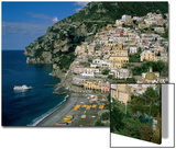 Amalfi Coast, Coastal View and Village, Positano, Campania, Italy Poster by Steve Vidler