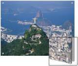 Rio De Janeiro with the Cristo Redentor in the Foreground and the Pao De Acucar in the Background Posters por Marco Simoni
