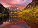 Maroon Bells Reflected on Maroon Lake at Sunrise, White River National Forest, Colorado, USA Poster by Adam Jones