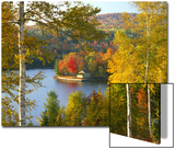 Summer Home Surrounded by Fall Colors, Wyman Lake, Maine, USA Print by Steve Terrill