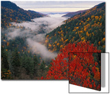 Autumn View of Fog from Morton Overlook, Great Smoky Mountains National Park, Tennessee, USA Print by Adam Jones