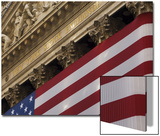 New York Stock Exchange and American Flag, Wall Street, Financial District, New York, USA Print by Amanda Hall