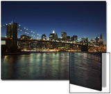 Manhattan Skyline and Brooklyn Bridge at Dusk, New York City, New York, USA Posters by Amanda Hall