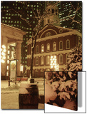 Faneuil Hall at Christmas with Snow, Boston, MA Prints by James Lemass