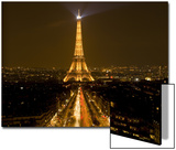 Digital Composite of Eiffel Tower and Champs-Elysees at Nighttime, Paris, France Print by Jim Zuckerman