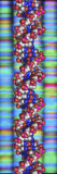 Dna Molecular Model in Front of a Multicolored Dna Gel Profile Photographic Print by Peter Artymiuk