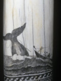 Scrimshaw Carving of a Whaling Scene in the Mid 1800S on a Sperm Whale Tooth Photographic Print by Ken Lucas