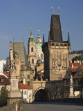 Charles Bridge, Little Quarter Bridge Tower and Church of St. Nicholas, Prague, Czech Republic Photographic Print by Adam Jones