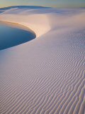 Gypsum Sand Dune with Pool of Water, White Sands National Monument, New Mexico, USA Photographic Print by Clint Farlinger