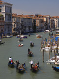 Gondolas and Boat Traffic on Grand Canal, Viewed from Rialto Bridge, Venice, Italy Photographic Print by Adam Jones