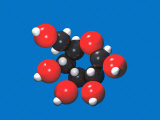 Molecular Model of Glucose (C6H12O6), with Black for Carbon, White for Hydrogen, and Red for Oxygen Photographic Print by Carol and Mike Werner