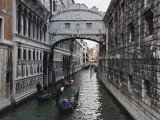 Historic Bridge of Sighs and Gondolas in Canal, Venice, Italy Photographic Print by Adam Jones