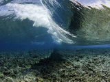 Underwater View of a Wave Crashing over a Coral Reef, Micronesia Photographic Print by David Fleetham