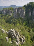 Landscape Bastei, Elbe Sandstone, National Park Saxonia Switzerland, Germany Photographic Print by Fritz Polking