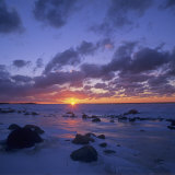 Winter Sunset over Lake Michigan, Cat Head Point, Leelanau State Park, Michigan, USA Photographic Print by Adam Jones