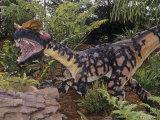 Restoration of Spitter Dinosaur Fossil (Dilophosaurus), Early Jurassic, 195 M.Y.A., Arizona, USA Stampa fotografica di Ken Lucas