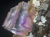 Fluorite Crystal (Caf2) on Sphalerite, Minerva Mine, Illinois, USA Photographic Print by Mark Schneider