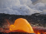 Lava Flowing from a Vent, Hawaii Volcanoes National Park, Hawaii, USA Photographic Print by G. Brad Lewis