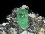 Emerald Crystal in Calcite, Colombia, South America Photographic Print by Mark Schneider
