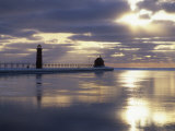 Grand Haven Lighthouse on Lake Michigan at Sunset, Grand Haven, Michigan, USA Photographic Print by Adam Jones