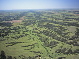 Aerial View of Stream Patterns, Grasslands, and Riparian Growth East of Wellfleet, Nebraska, USA Photographic Print by Jim Wark