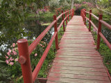 Red Bridge over a Pond, Magnolia Plantation, Charleston, South Carolina, USA Photographie par Adam Jones