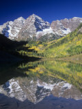 Maroon Bells Reflected on Maroon Lake, White River National Forest, Colorado, USA Photographic Print by Adam Jones