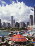 Chicago Skyline from Above Navy Pier, Chicago, Illinois Photographic Print by Adam Jones