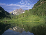 Summer View of Maroon Bells Reflected in Maroon Lake, White River National Forest, Colorado, USA Photographic Print by Adam Jones