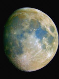 The Waxing Moon. the Blue Areas are Indicative of Titanium-Rich Minerals Photographic Print by Guillermo Gonzalez
