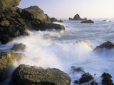 Surf Crashing Against Rocks, Patricks Point State Park, California, USA Photographic Print by Adam Jones