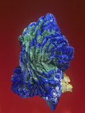 Azurite with Malachite Crystals, Tsumeb Mine, Namibia, Africa Photographic Print by Mark Schneider